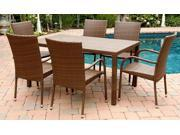 Palermo Outdoor Brown Wicker 7-Pc Dining Set