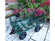 Steel Garden Utility Cart w Folding Handle & Green Finish