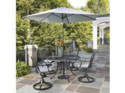 5-Pc UV Resistant Patio Dining Set with Tilt Mechanism Umbrella