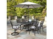 7-Pc Cast Aluminum Patio Dining Set in Charcoal Finish