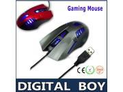 New sale 4 buttons 1000 dpi Super Optical gaming mouse computer peripherals mouse Wired Mice USB interface for Gamers Playing Games #20C7-Silver Gray