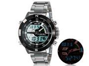 Weide 1104 Unisex Dual Movement Round Analog  Digital 30 m Waterproof Sports Watch with Stainless Steel Strap (Black) M.