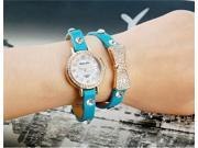 WoMaGe B025 Womens Bowknot Crystal Decorated Analog Watch Bracelet (Blue) M.