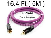 16.4Ft 5M Gold Plated Plug Coaxial Video Cable RCA to RCA Oxygen Free Copper Conductor OFC