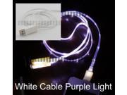 White Purple Light 3Ft 1M Illuminating Cable Micro USB Male to USB Male Data Sync & Charge for Samsung Galaxy S5 GS5 Sv G900 S3 S4 Siv LTE Note 2 II 3 III 8.0 Tab 3 III LG Optimus Sony Xperia HTC -OEM