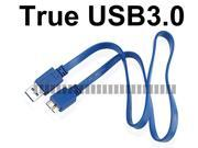 0.5M 1.6Ft Flat Micro USB 3.0 Male to USB A 3.0 Male Data Sync & Charge Blue Cable for Samsung Galaxy S5 GS5 G900 G9000 Note 3 III N900 N9000 Hard Disk Drive HDD Mobile Cell Phone Tablet 9 Pin -OEM