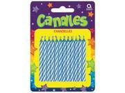Candy Stripe Blue Birthday Candles (24)