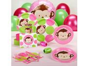 Pink Mod Monkey Baby Shower Standard Party Pack for 8