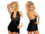 Black Lace Sheer Lingerie Intimate Dress Babydoll Underwear G-string Bow Nighty
