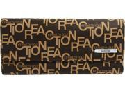 KENNETH COLE REACTION Matte Tri Fold Elongated Printed Wallet (Brown/Beige)