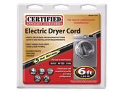Certified 77061 6ft, 4-Wire Dryer Cord
