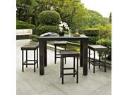 Palm Harbor 5 Piece Outdoor Wicker High Dining Set - Table & Four Stools
