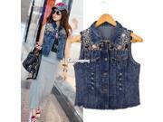 Women Sequin Bead Chain Denim Sleeveless Vintage Jacket Outerwear Jean Vest