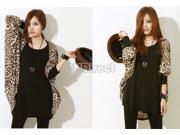 New Lady Batwing Dolman Sleeves Loose Long Leopard Coat Cardigan Outerwear