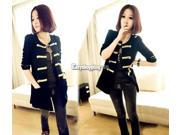 New Womens Double-breasted Cardigan Outerwear Golden Buttons Coat Jacket Top