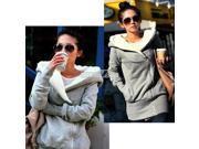 New Popular Women Hoodie Fleece Jacket Coat Warm Outerwear Oblique hot Gray