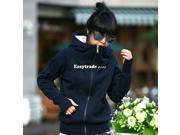 Fashion Korea Women Short Hoodie Jacket Coat Warm Outerwear Hooded Zip Dark Blue