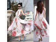 New Women Big Hem Summer Elegant BoHo Lotus Leaf Chiffon Maxi Long Skirt Dress