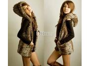 Women Fashion Korean Hooded Coat Leopard Sleeveless Vest Outerwear Hoodie Warmer