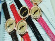 Hotsell Lovely moustache beard Pattern Woman Quartz Rhinestone PU Strap Wrist Watch