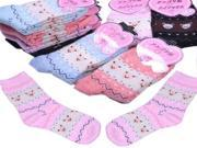 1 Pair Cute Bear Pattern Thickened Warm Sock Rabbit Wool Sock for Women Ladies
