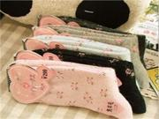 1 Pair Retro Beautiful Lower Pattern Thicken Rabbit Wool Warm Sock in Winter for Women Ladies