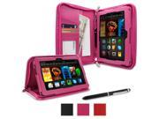roocase Amazon Kindle Fire HDX 7 Case - Executive Portfolio Leather 7-Inch 7 Cover with Landscape, Portrait, Typing Stand, Hand Strap - Magenta (With Auto Wake / Sleep Cover)