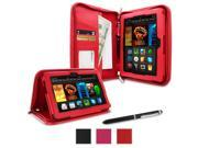roocase Amazon Kindle Fire HDX 7 Case - Executive Portfolio Leather 7-Inch 7 Cover with Landscape, Portrait, Typing Stand, Hand Strap - Red (With Auto Wake / Sleep Cover)