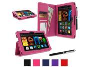 roocase Amazon Kindle Fire HDX 7 Case - Dual Station PU Leather 7-Inch 7 Cover with Stylus - Magenta (With Auto Wake / Sleep Cover)