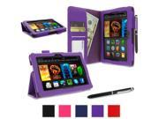 "rooCASE Amazon Kindle Fire HDX 7 Case - (2014 Current Generation) Dual Station PU Leather 7-Inch 7"" Cover with Stylus - PURPLE (With Auto Wake / Sleep Cover)"