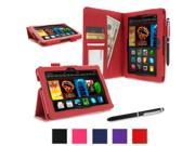 "rooCASE Amazon Kindle Fire HDX 7 Case - (2014 Current Generation) Dual Station PU Leather 7-Inch 7"" Cover with Stylus - RED (With Auto Wake / Sleep Cover)"
