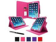 iPad Air 1 Case - roocase Dual View Folio iPad Air 2013 PU Leather Case Smart Cover (Supports Auto Sleep/Wake) for Apple iPad Air 1 (2013) 5th Generation, Magenta