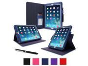 iPad Air 1 Case - roocase Dual View Folio iPad Air 2013 PU Leather Case Smart Cover (Supports Auto Sleep/Wake) for Apple iPad Air 1 (2013) 5th Generation, Navy