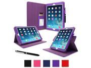 rooCASE iPad Air Case - Dual-View Folio PU Leather Case for Apple iPad Air (2013) 5th Generation, PURPLE (With Smart Cover Auto Wake / Sleep)