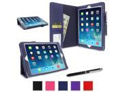 iPad Air 1 Case - roocase Dual Station Folio iPad Air 2013 PU Leather Folio Stand Case Smart Cover (Supports Auto Sleep/Wake) for Apple iPad Air 1 (2013) 5th Generation, Navy