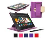 "rooCASE Amazon Kindle Fire HDX 8.9 Case - Slim Fit Multi Angle Tablet 8.9-Inch 8.9"" Stand Cover - Purple (With Auto Wake / Sleep Cover)"
