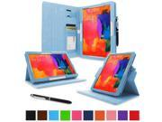 """rooCASE Samsung Galaxy Tab Pro 10.1 / Note 10.1 2014 Edition Case - Dual View Multi Angle Landscape Portrait Stand 10.1-Inch 10.1"""" Tablet Case - Blue (With Auto Wake / Sleep Cover)"""