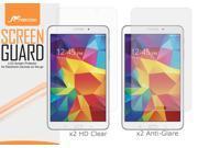 roocase Samsung Galaxy Tab 4 8.0 SM-T330 4-Pack Screen Protectors Film Guard (x2 High Definition HD Clear & x2 Anti-Glare Matte)