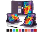 """rooCASE Samsung Galaxy Tab 4 10.1 SM-T530 Tablet Case - Dual View Multi-Angle Stand Cover with Pen Stylus for Tab4 10-Inch 10.1"""", Purple (Supports Auto Sleep/Wake)"""
