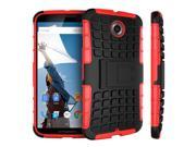 Nexus 6 Case - roocase [BLOK Armor] Hybrid Nexus 6 2014 Dual Layer Rugged Case Cover with Kickstand roocase for Google Nexus 6 Phone 5.9-inch (2014), Red