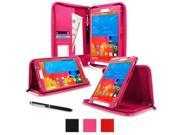 """rooCASE Samsung Galaxy Tab Pro 8.4 Case - Executive Portfolio Leather 8.4-Inch 8.4"""" Cover with Landscape, Portrait, Typing Stand, Hand Strap - Magenta (With Auto Wake / Sleep Cover)"""