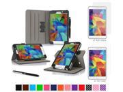 """rooCASE Samsung Galaxy Tab 4 7.0 SM-T230 Tablet Case - Dual View Multi-Angle Stand Cover Pen Stylus with 4-Pack (2 Anti-Glare Matte & 2 HD Clear) Screen Protectors for Tab4 7"""", Black"""