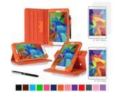 "rooCASE Samsung Galaxy Tab 4 7.0 SM-T230 Tablet Case - Dual View Multi-Angle Stand Cover Pen Stylus with 4-Pack (2 Anti-Glare Matte & 2 HD Clear) Screen Protectors for Tab4 7"", Orange"
