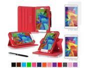 "rooCASE Samsung Galaxy Tab 4 7.0 SM-T230 Tablet Case - Dual View Multi-Angle Stand Cover Pen Stylus with 4-Pack (2 Anti-Glare Matte & 2 HD Clear) Screen Protectors for Tab4 7"", Red"