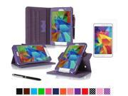 "rooCASE Samsung Galaxy Tab 4 7.0 SM-T230 Tablet Case - Dual View Multi-Angle Stand Cover Pen Stylus with Ultra HD Plus Anti-Fingerprint Bubble Free Clear Screen Protector for Tab4 7"", Purple"