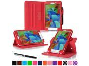 "rooCASE Samsung Galaxy Tab 4 7.0 SM-T230 Tablet Case - Dual View Multi-Angle Stand Cover with Pen Stylus for Tab4 7-Inch 7"", Red"