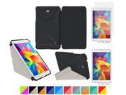 """Galaxy Tab 4 7.0"""" Case, roocase Origami 3D Slim Shell Case [Granite Black/Cool Gray] Folio Cover Bundle with 4-Pack Screen Protector for Samsung Galaxy Tab 4 7.0"""