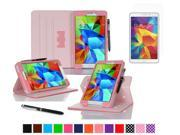 """rooCASE Samsung Galaxy Tab 4 8.0 SM-T330 Tablet Case - Dual View Multi-Angle Stand Cover Pen Stylus with Ultra HD Plus Anti-Fingerprint Bubble Free Clear Screen Protector for Tab4 8"""", Pink"""