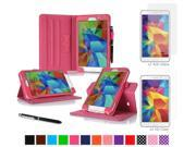 "rooCASE Samsung Galaxy Tab 4 7.0 SM-T230 Tablet Case - Dual View Multi-Angle Stand Cover Pen Stylus with 4-Pack (2 Anti-Glare Matte & 2 HD Clear) Screen Protectors for Tab4 7"", Magenta"