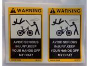 2PCS Small Stickers Decals Labels Signs for your Bicycle Mountain GT Road Bike Don't touch Keep your Hands off my Bike No Tampering with my bicycle funny vinyl sticker decal label sign